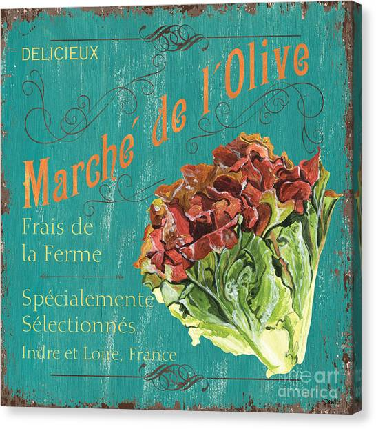 Vegetarian Canvas Print - French Market Sign 3 by Debbie DeWitt
