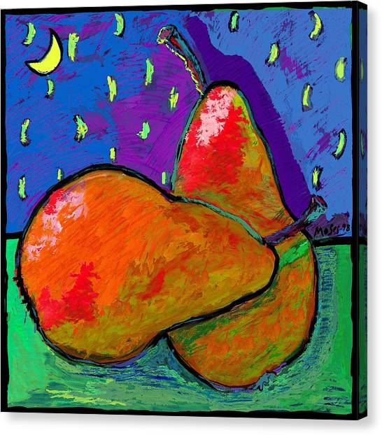 French Pears At Midnight Canvas Print