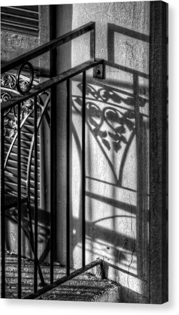 French Quarter Balcony Shadow Canvas Print