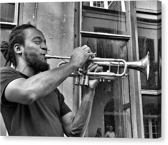 French Quarter Street Musician Canvas Print by Mike Barch