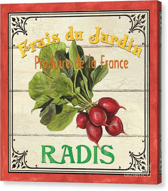 Vegetable Garden Canvas Print - French Vegetable Sign 1 by Debbie DeWitt