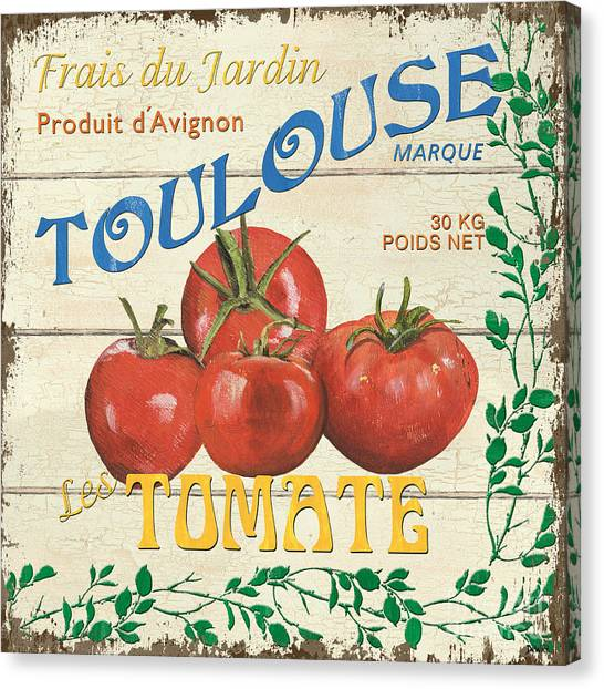Tomato Canvas Print - French Veggie Sign 3 by Debbie DeWitt