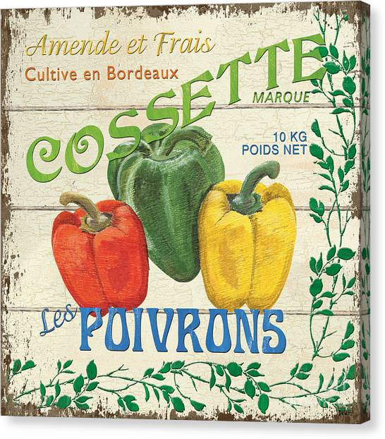 Organic Canvas Print - French Veggie Sign 4 by Debbie DeWitt
