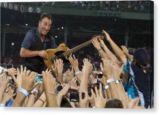 Bruce Springsteen Canvas Print - Frenzy At Fenway by Jeff Ross