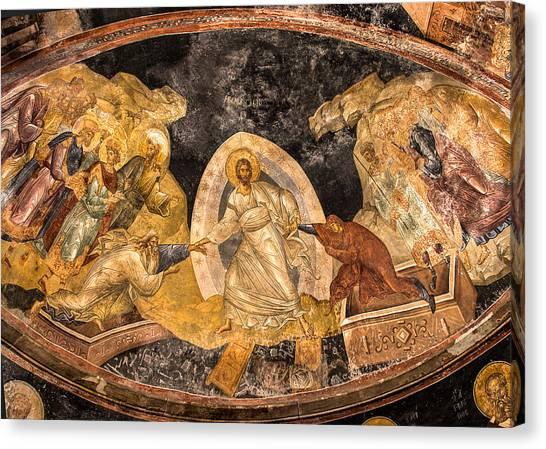 Fresco In Chora Church In Istanbul Canvas Print