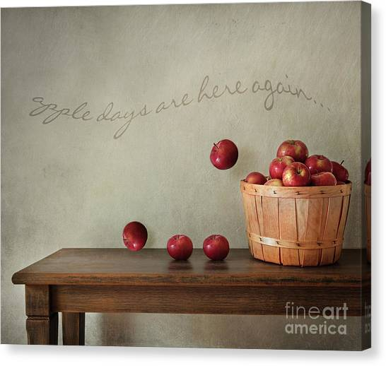 Tables Canvas Print - Fresh Apples On Wooden Table by Sandra Cunningham