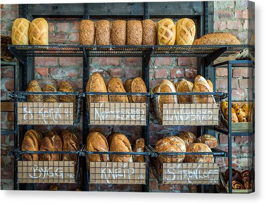 Bakeries Canvas Print - Fresh Baked Bread At Small Town Bakery  by Aldona Pivoriene