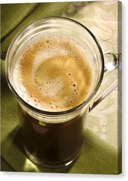Coffee Mug Canvas Print - Fresh Coffee In Glassmug by Iris Richardson