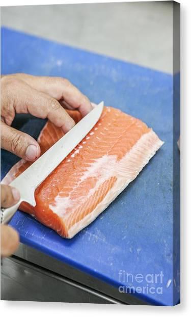 Fillet Canvas Print - Fresh Farmed Salmon Fillet by Gustoimages