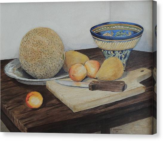 Canteloupes Canvas Print - Fresh Fruit With Hungarian Bowl by Allan Mathison