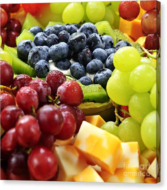 Honeydews Canvas Print - Fresh Fruits And Cheese by Elena Elisseeva