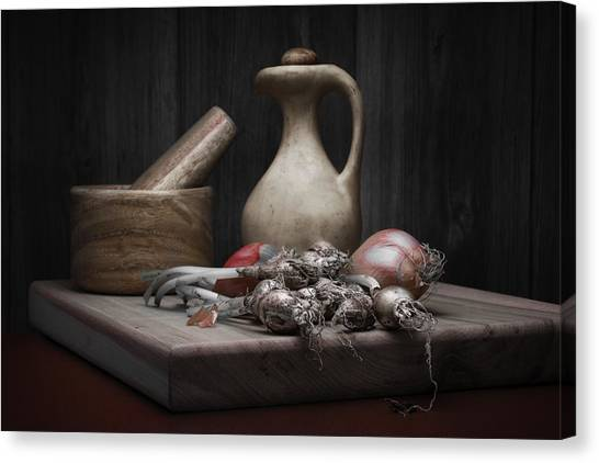 Cooking Canvas Print - Fresh Onions With Pitcher by Tom Mc Nemar