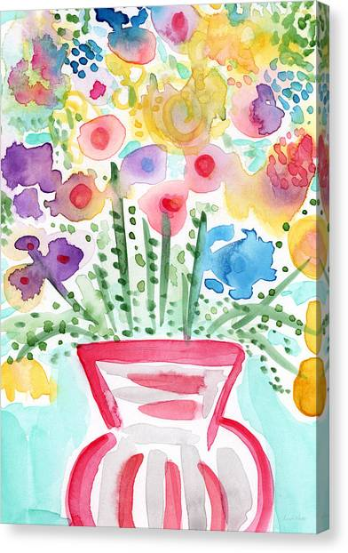 Design Canvas Print - Fresh Picked Flowers- Contemporary Watercolor Painting by Linda Woods