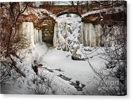 Fresh Snowfall At Wequiock Falls Canvas Print