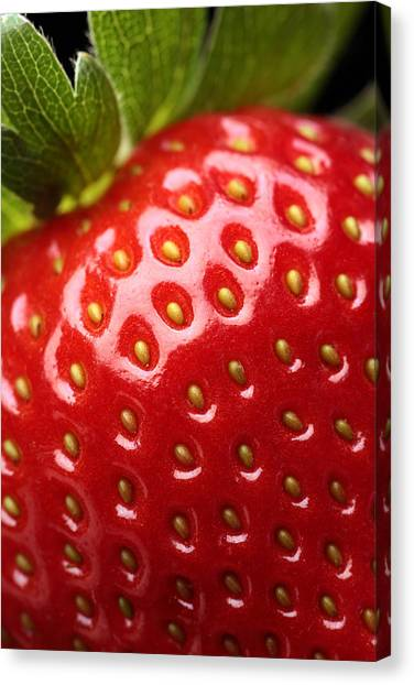 Strawberries Canvas Print - Fresh Strawberry Close-up by Johan Swanepoel