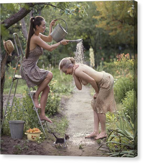 Pour Canvas Print - Fresh Summer Shower by David Dubnitskiy