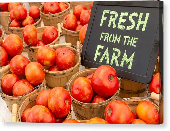 Locally Grown Canvas Print - Fresh Tomatoes In Baskets At Farmers Market by Teri Virbickis
