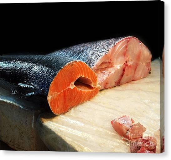 Fillet Canvas Print - Fresh Tuna And Cod by Yali Shi