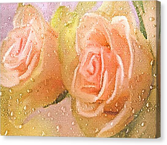 Freshly Watered Roses Canvas Print