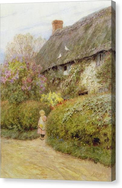 Freshwater Canvas Print - Freshwater Cottage Wc On Paper by Helen Allingham