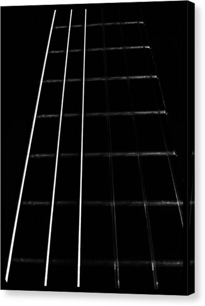 Ukuleles Canvas Print - Fretboard by Abbie Shores