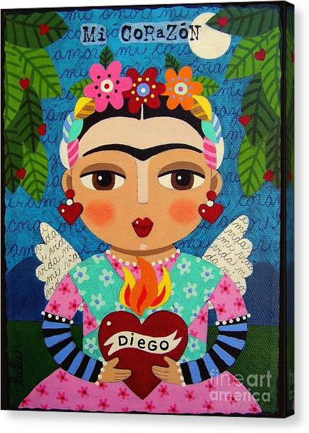 Folk Art Canvas Print - Frida Kahlo Angel And Flaming Heart by LuLu Mypinkturtle