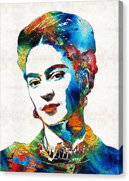 Painters Canvas Print - Frida Kahlo Art - Viva La Frida - By Sharon Cummings by Sharon Cummings