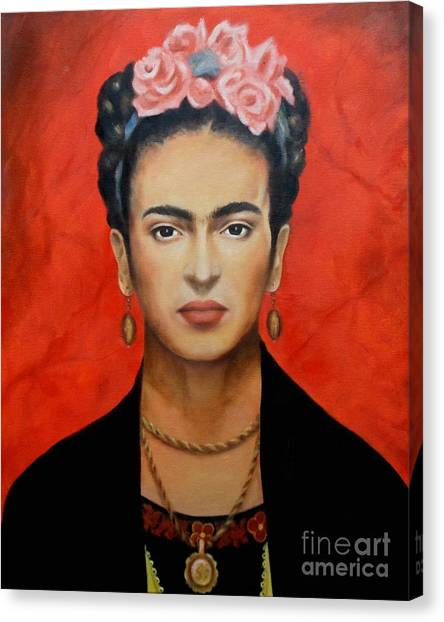 Red Roses Canvas Print - Frida Kahlo by Elena Day