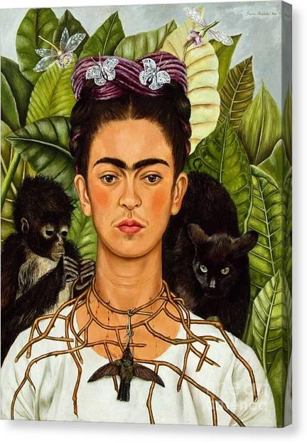 Frida Kahlo - Thorn Necklace And Hummingbird Canvas Print