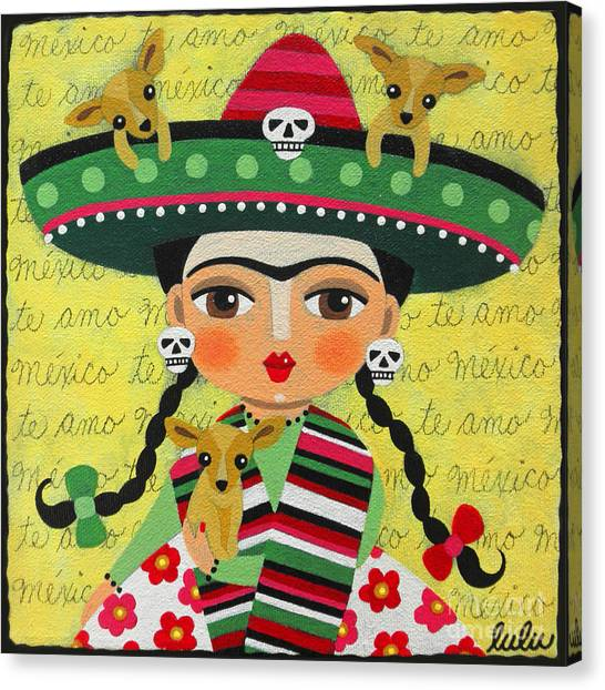 Chihuahuas Canvas Print - Frida Kahlo With Sombrero And Chihuahuas by LuLu Mypinkturtle
