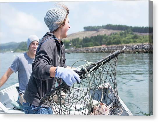 Crabbing Canvas Print - Friends Crabbing On The Oregon Coast by Brandon Huttenlocher