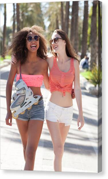 Rollerblading Canvas Print - Friends Laughing by Ian Hooton/science Photo Library