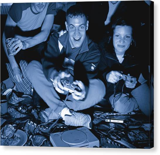 Playstation Canvas Print - Friends Playing Computer Games by Martin Riedl/science Photo Library