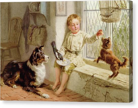 Watercolor Pet Portraits Canvas Print - Friends  by Helena J Maguire