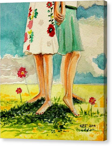 Garden Canvas Print - Friendship by Elizabeth Robinette Tyndall