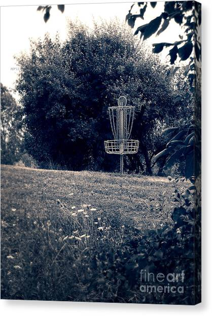 Disc Golf Canvas Print - Frisbee Disc Golf Basket by Phil Perkins