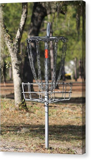 Disc Golf Canvas Print - Frisbee Golf by Debra Forand