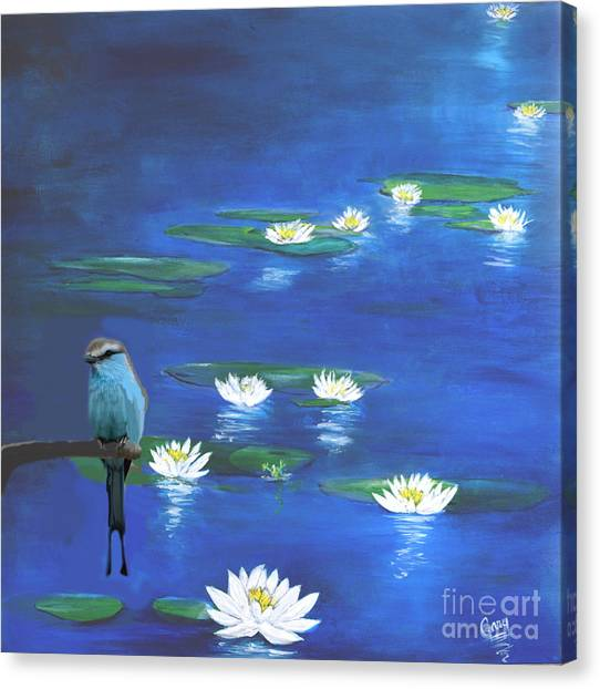Frog And The Bluebird Canvas Print