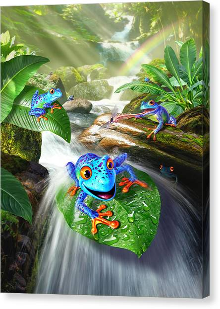 Frogs Canvas Print - Frog Capades by Jerry LoFaro