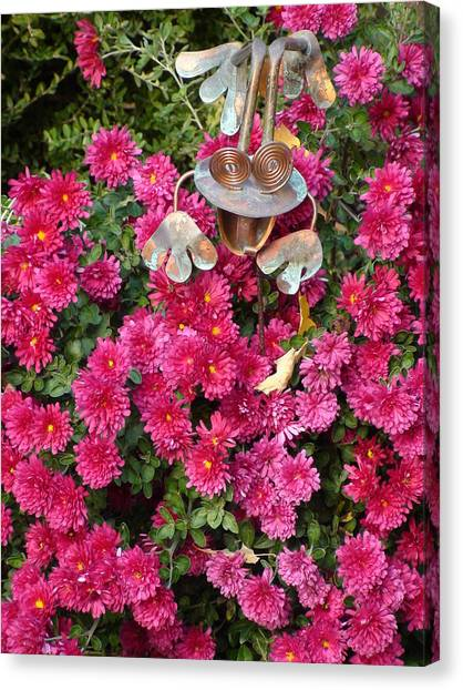 Frog In Flowers Canvas Print by Sanford
