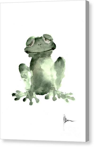 Frogs Canvas Print - Frog Painting Watercolor Art Print Green Frog Large Poster by Joanna Szmerdt