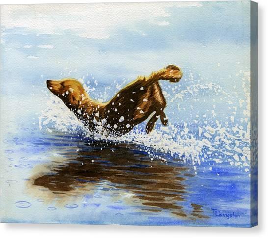 Frolicking Dog Canvas Print