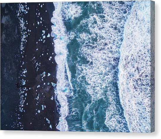 Black Sand Canvas Print - From Above Iv by Antonio Carrillo Lopez