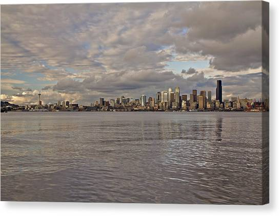 from Alki Beach Seattle skyline Canvas Print