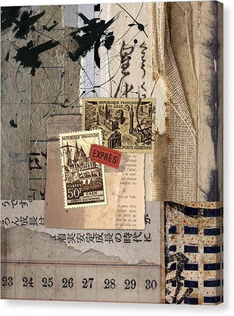 Torn Paper Collage Canvas Print - From Books by Carol Leigh