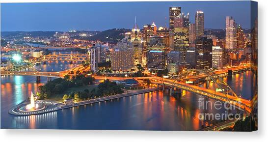 From The Fountain To Ft. Pitt Canvas Print