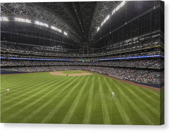 Milwaukee Brewers Canvas Print - From The Outfield by CJ Schmit