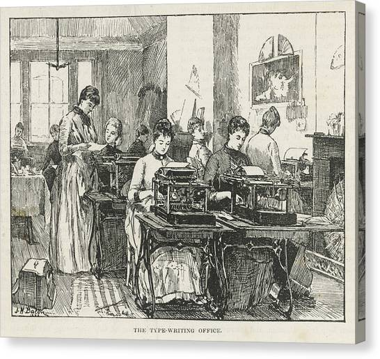 Womens Rights Canvas Print - From The Start, Typing Was  Perceived by Mary Evans Picture Library
