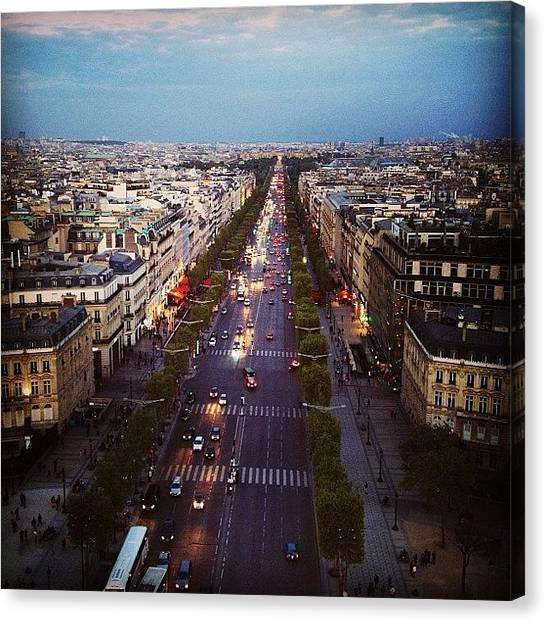 European Canvas Print - From The Top Of The Arc De Triomphe by Heidi Hermes