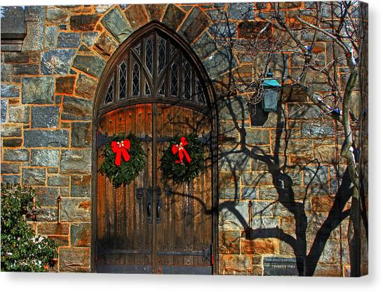 Front Door To Baldwin Memorial United Methodis Canvas Print